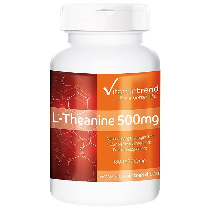 L-Teanina 500mg ¡Bote para 6 MESES! 180 tabletas - altas dosis sin estearato de magnesio - ayuda a un bienestar mental equilibrado y una mayor resistencia ...