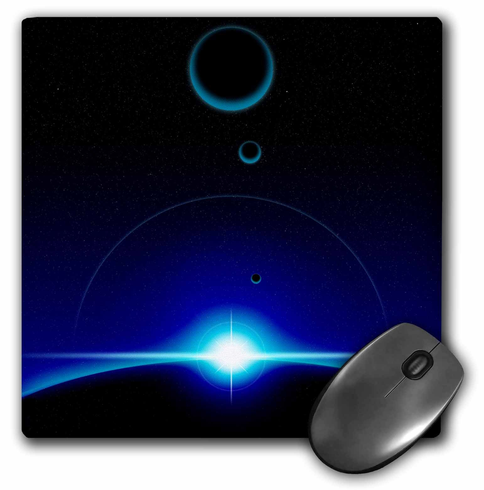 3dRose LLC Solar Scene Shows Blue Light of a Star Cresting the Top Edge of Planet in Space Pattern Mouse Pad (mp_19255_1)