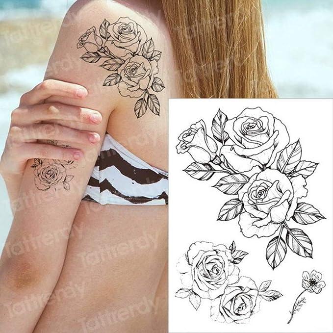 3ps-Tattoo negro flor tatuaje manga agua tatuaje pegatina rosa ...