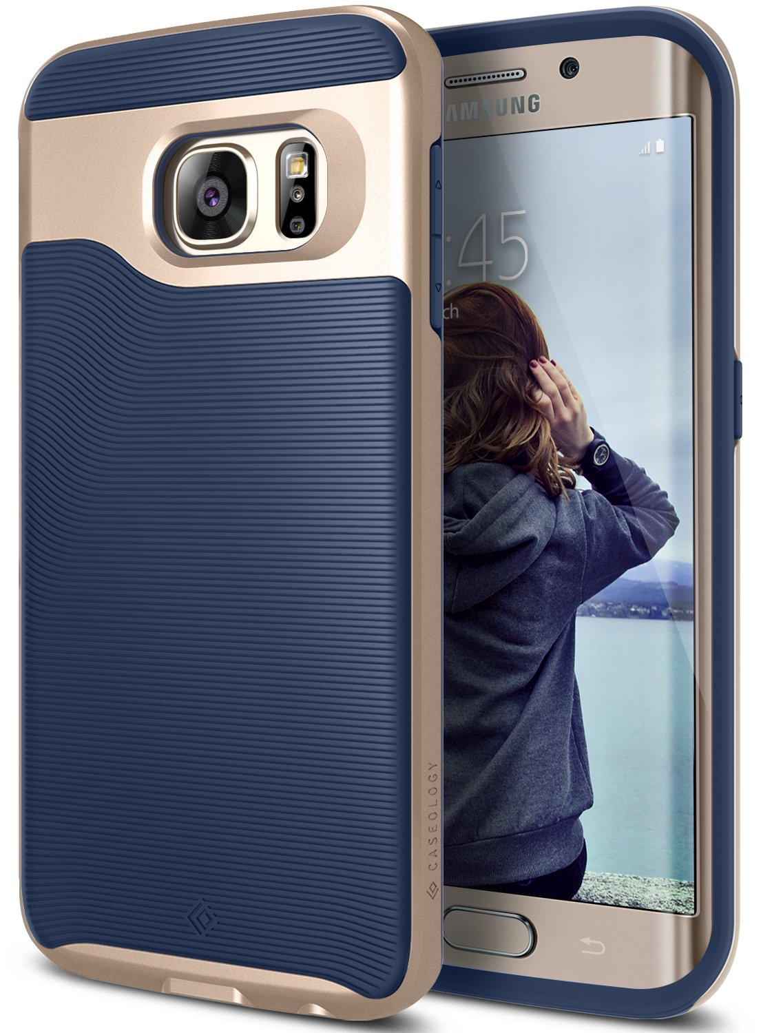Amazon galaxy s6 edge case caseology wavelength series wavelength series slim dual layer protective textured grip corner cushion design for samsung galaxy s6 edge navy blue cell phones accessories sciox Gallery