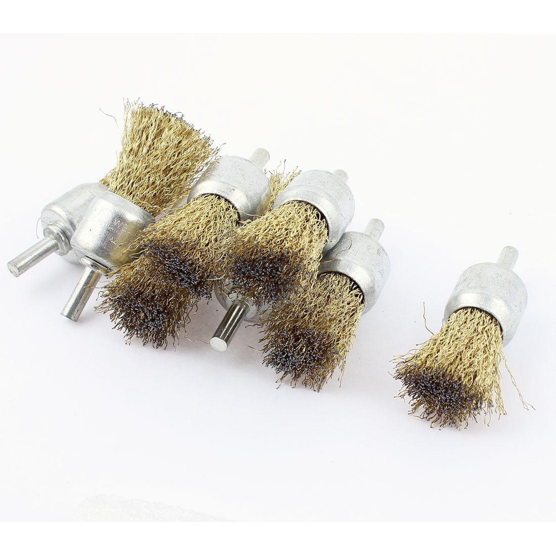 6mm Shank 25mm Dia Crimped Steel Wire Clean Polishing Brushes 8pcs