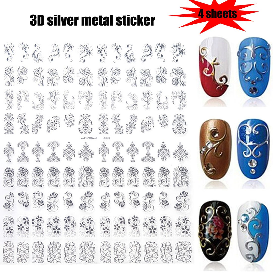 Lookathot 432PCS/4 Sheets 3D Silver Metallic Nail Art Stickers Decals Flowers Mixed Designs Nail DIY Decoration Tools by Lookathot