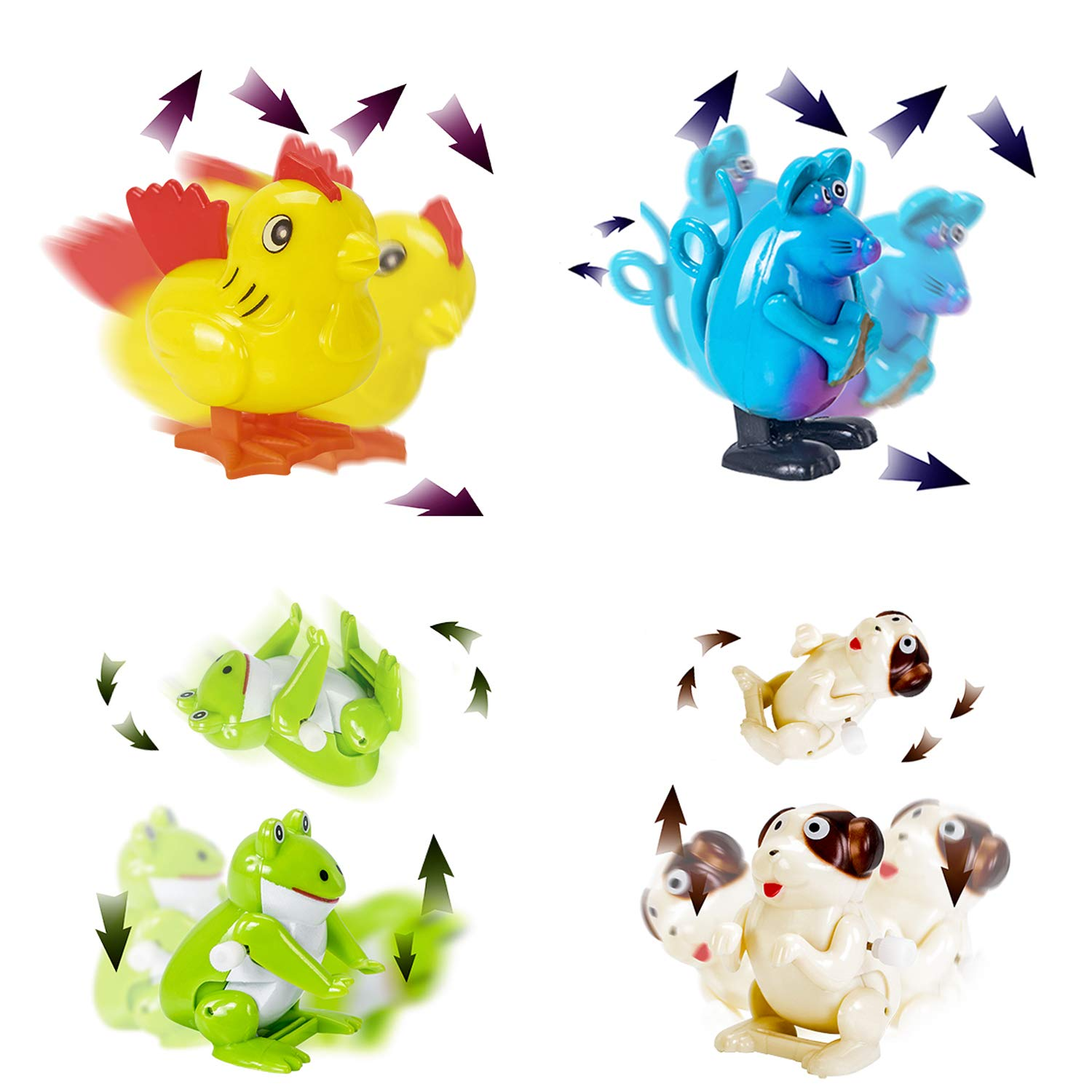 WishaLife Hatchimal Surprise Hatching Egg - Set of 8 Wind Up Animals Toys for Kids Birthday Gifts Party Favor (Includes Mouse, Dog, Dinosaur, Chick, Frog, Ladybug, Crab, Larva, Wooden Hammer) by WishaLife (Image #2)
