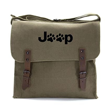 d50bc74889 Amazon.com | Jeep Wrangler Cat Dog Paw Prints Army Heavyweight Canvas Medic Shoulder  Bag in Olive & Black | Messenger Bags