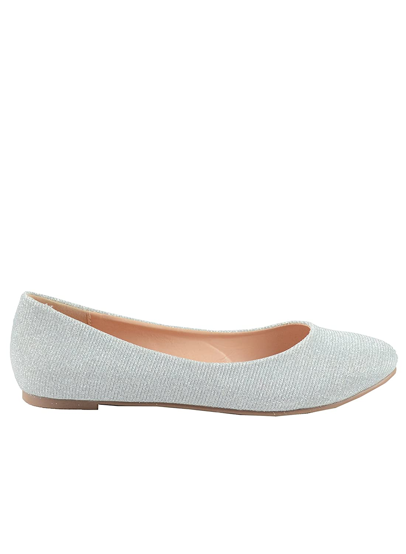 Chase & Chloe Ami-1 Round Toe Classic Ballet Flat B078X2LTR5 11 B(M) U.S|Silver Glitter