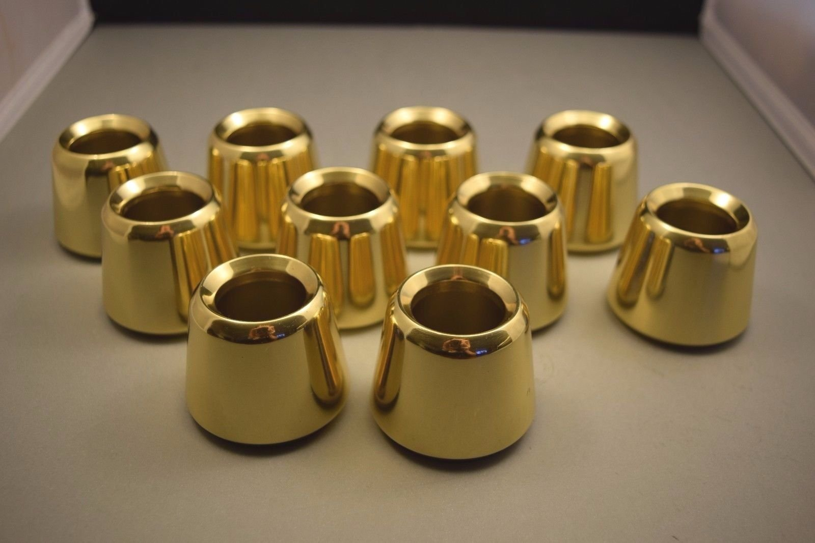 Set of 10 Solid Brass 1 1/2'' Church Candle Followers