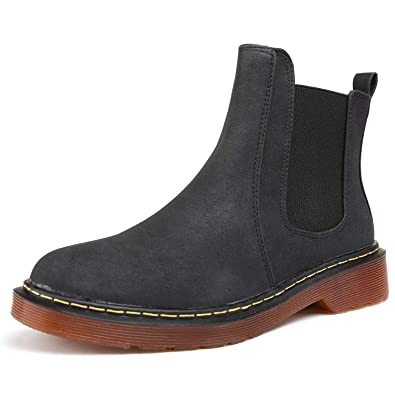 767e6608fc05 Odema Womens Leather Chelsea Boots Low Heel Elastic Slip On Ankle Bootie  Black