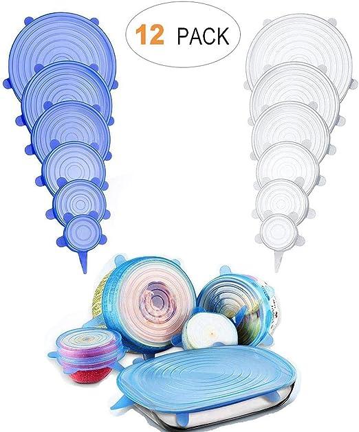 BASON Tapas Silicona,12 Piezas Tapas Silicona Ajustable Cocina ...
