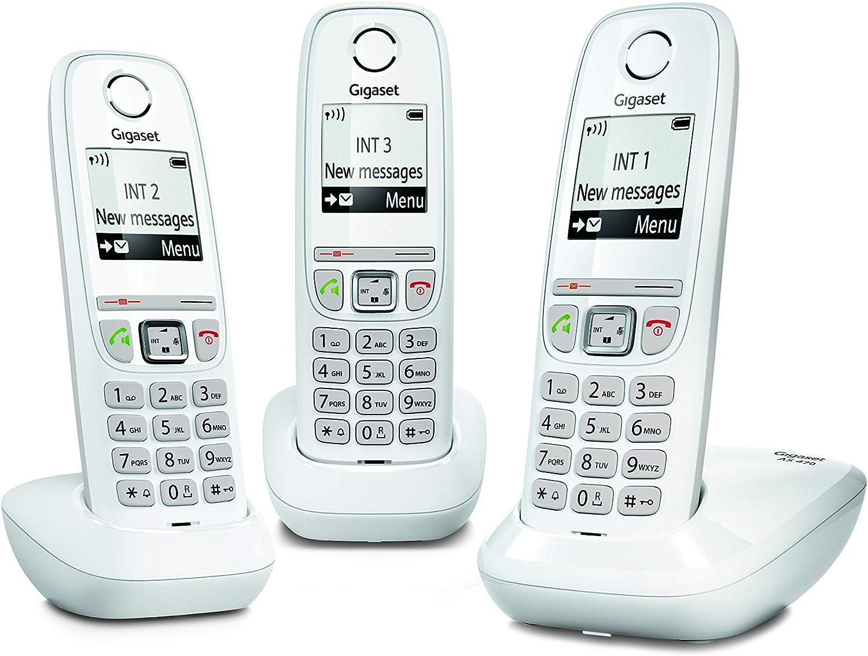 Gigaset AS470 Trio - Teléfono (Teléfono DECT, Terminal inalámbrico, Altavoz, 100 entradas, Identificador de Llamadas, Blanco)