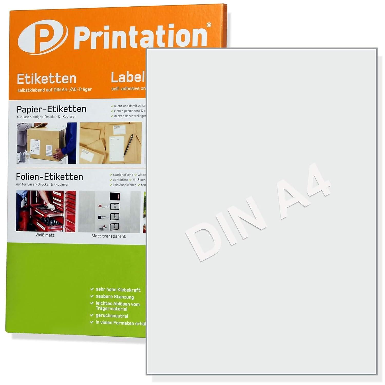 Universal etiketten 100 stück 210 x 297 mm weiß selbstklebend bedruckbar 100 din a4 bogen à 1x1 210x297 labels 3478 6119 4631 amazon de bürobedarf