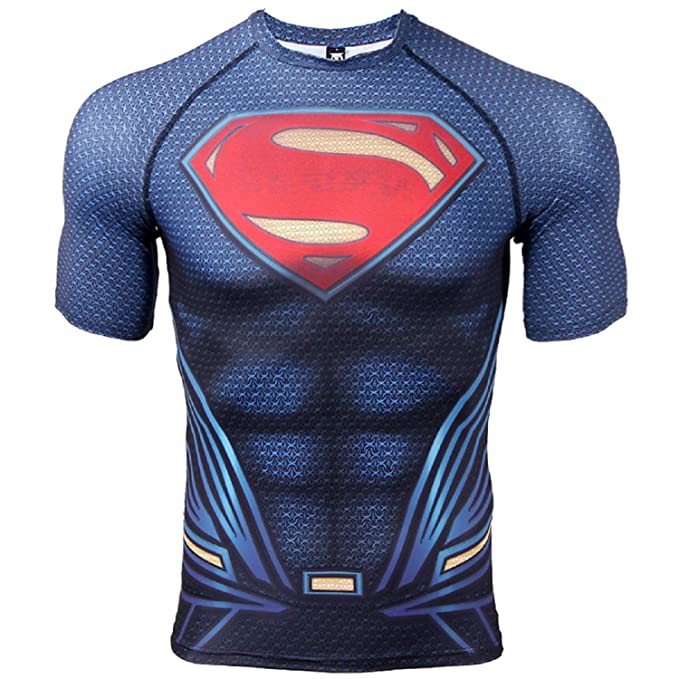 889dcc98fa Amazon.com: COOLMAX Raglan Short Sleeve Superman Mens Compression Shirt:  Clothing