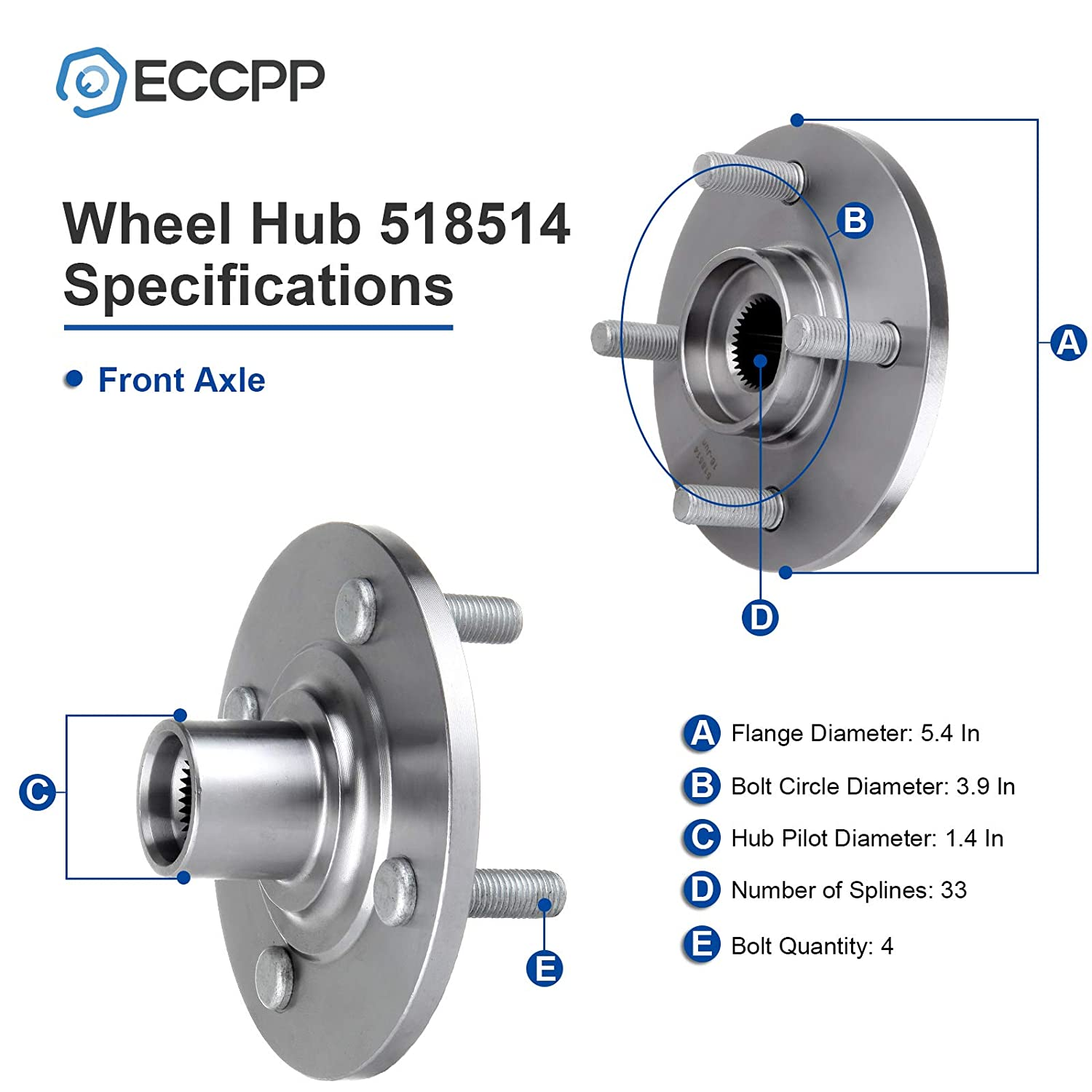 ECCPP Wheel Hub Bearing Assembly 4 Lugs for 1994 1995 1996 1997 1998 1999 2000 2001 2002 Saturn SC1 SC2 SL SL1 SL2 SW1 SW2 Axle Bearing and Hub Assembly Compatible with 518514