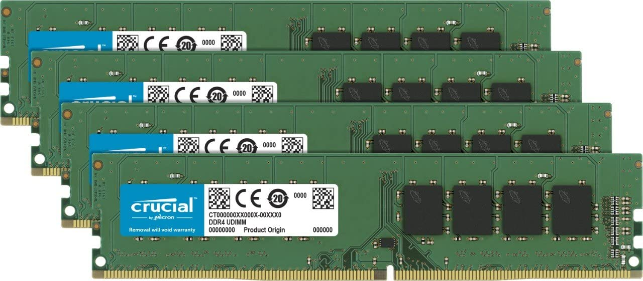Crucial 64GB Kit (16GBx4) DDR4 2666 MT/s (PC4-21300) DR x8 DIMM 288-Pin Memory - CT4K16G4DFD8266