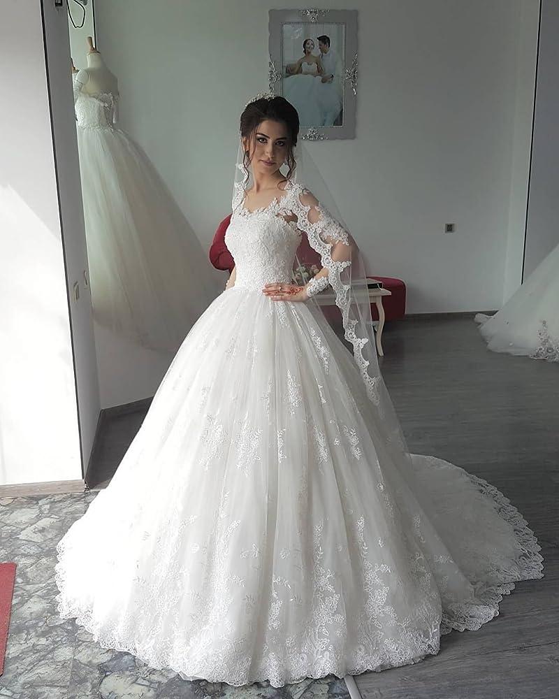 VinBridal Scoop Long Sleeve Ball Gown Princess Wedding Dresses for Bride