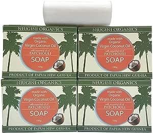 Niugini Organics Virgin Coconut Oil Soap - 4 Pack Patchouli Soap bars. Multi Award Winner.