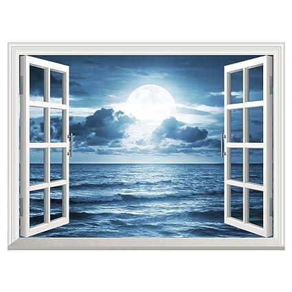 Sea Moon Night Huge Vinyl Mural Window Scene View Self Adhesive Removable 3D Wall Sticker
