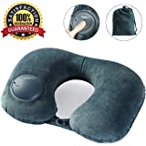 Travel Pillow, Self Inflatable Neck Pillow with Built In Air Bump, Comfortable Washable Soft Velvet Cover, Compact Packsack Lightweight Airplane Pillow for Office, Cars, Trains, Buses, Home Rest