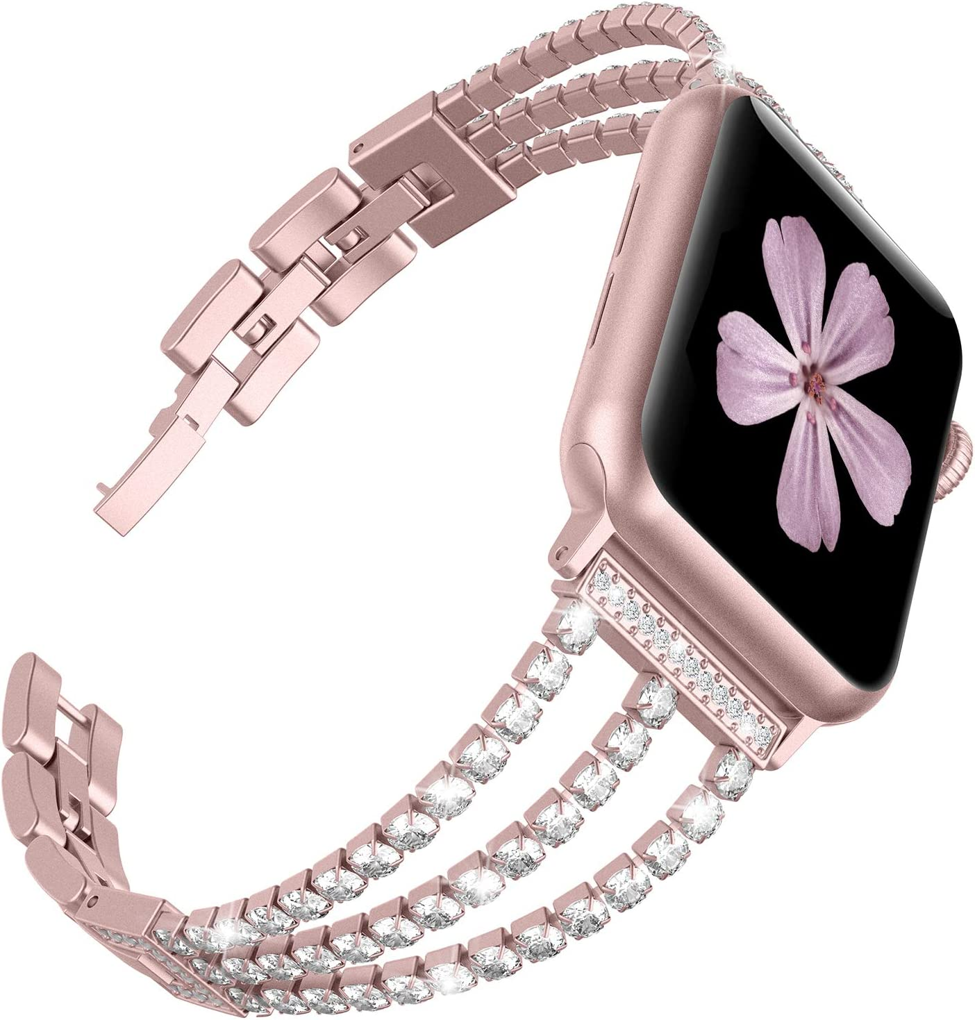 TOYOUTHS Compatible with Apple Watch 5 Band Rose Gold Dressy Bling Jewelry Stainless Steel Wristband Bracelet Sparkle Strap iWatch bands 40mm womens Series 4 3 2 1 38 mm 40mm(Rose Gold, 38mm/40mm)