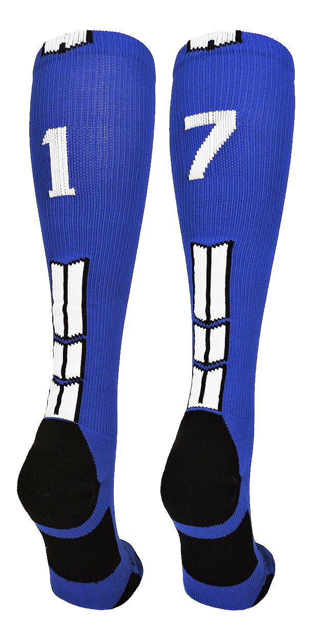 MadSportsStuff Royal/White Player Id Custom Over The Calf Number Socks...
