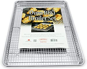 Crown Baking Sheet with Rack, 13x18 inch, Professional Quality, Extra Sturdy, Rust Free, Pure Food-Grade Aluminum, Bacon Rack for Oven, Turkey Roasting Pan, Sheet Pan with Wire Rack