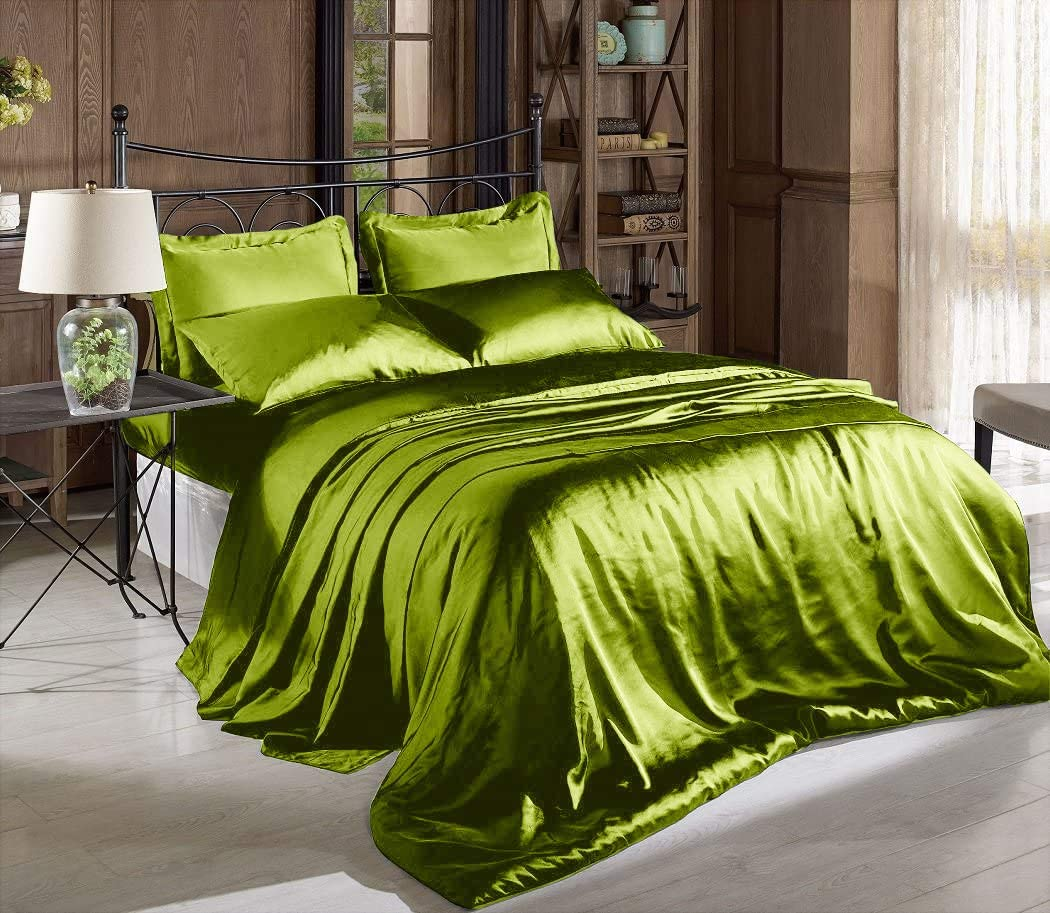 High Thread Count Solid Green Color Charmeuse Satin Bed Sheet