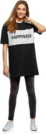 oodji Ultra Mujer Vestido Recto con Inscripción