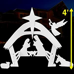 EasyGoProducts Outdoor Nativity Scene Set Decoration–Christmas Yard, 4 Foot