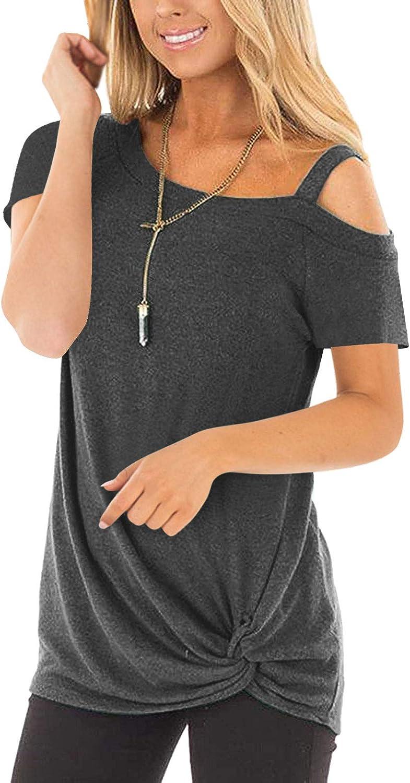 PIPIHU Camiseta Mujer Manga Corta Sin Tirantes Casual Camisa Tops