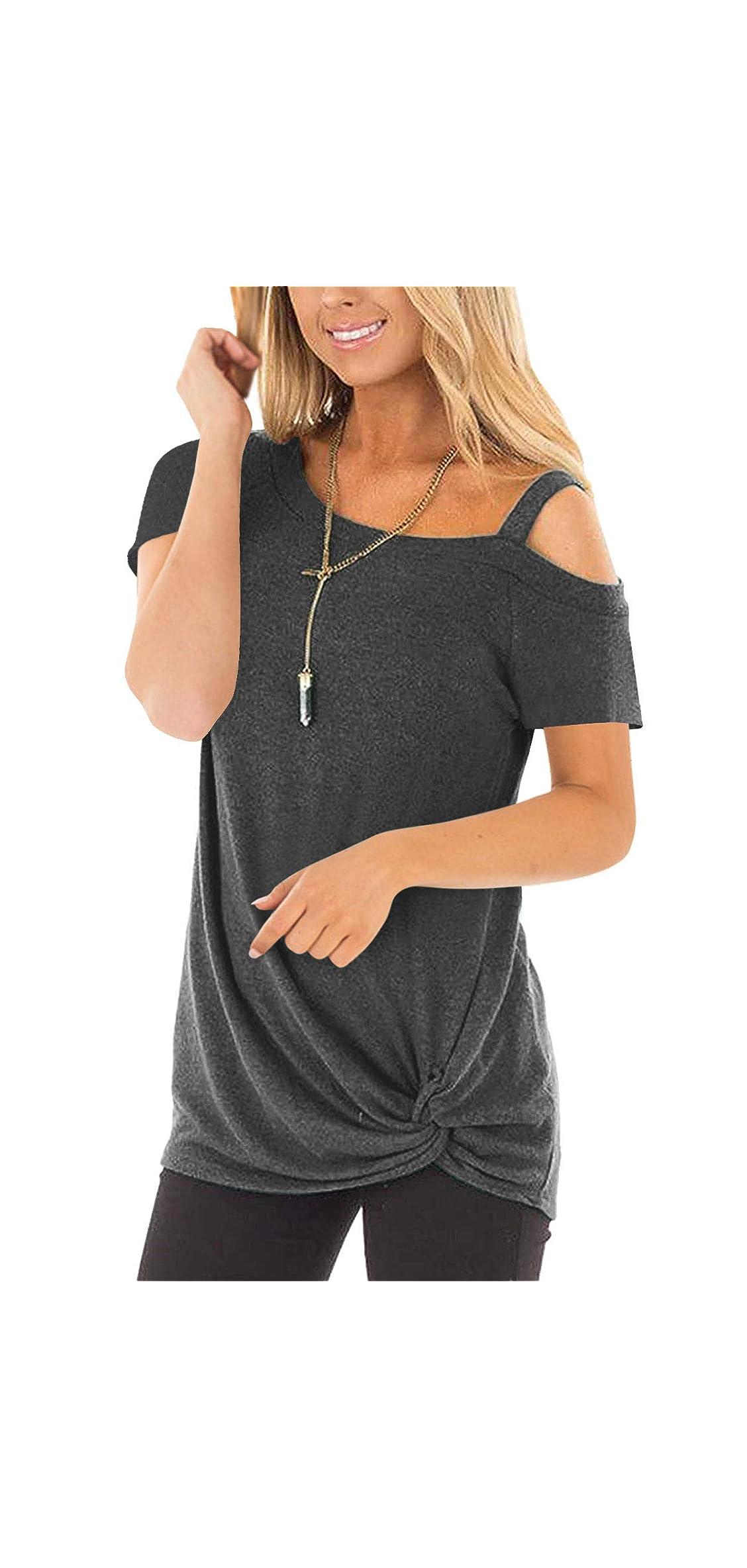 Knot Hem Top Women One Shoulder Strappy Cold Shoulder T-shirt