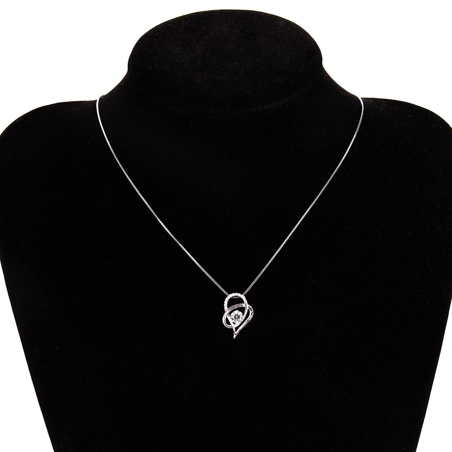 SOMEN TUNGSTEN Sterling Silver I Love You to The Moon and Back Cubic Zirconia Necklace Heart Pendant by SOMEN TUNGSTEN (Image #2)