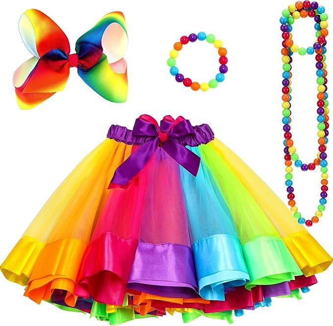 Willbond 80s - Juego de falda tutú para niñas, diseño de arcoíris ...