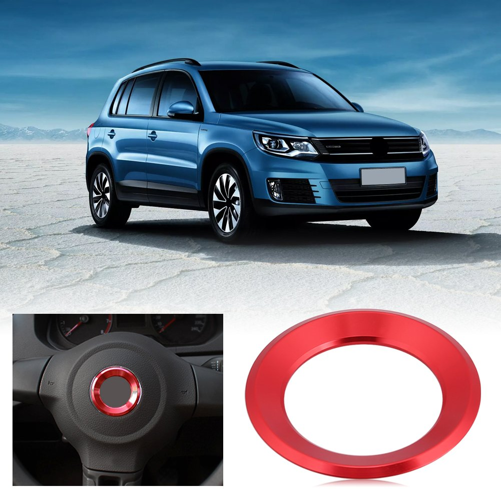Car Steering Wheel Centre Ring Steering Wheel Cover Trim Aluminium Chromium alloy Decoration Frame Trim Insert Sticker Red
