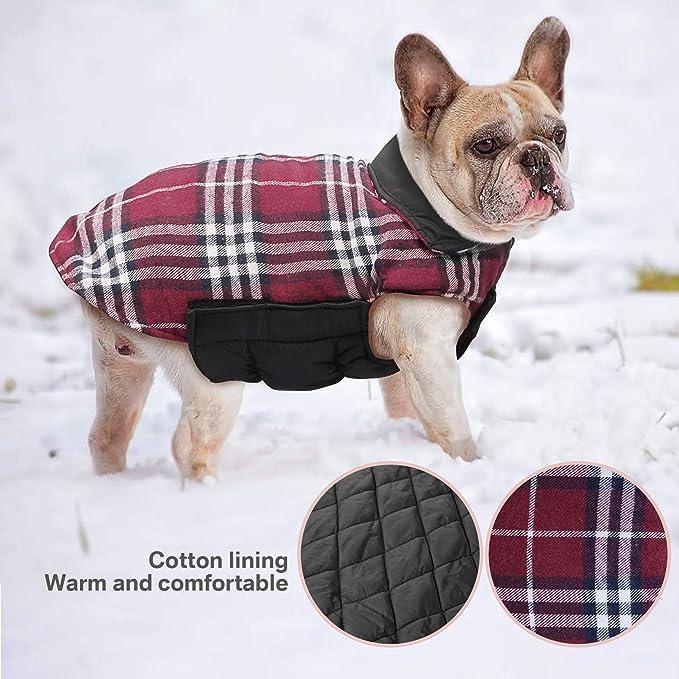 Wooce Abrigo de Tela Escocesa Reversible del otoño Abrigo de Invierno cálido y Acogedor Chaqueta Acolchada para Perros pequeños y medianos Rojo-S: ...