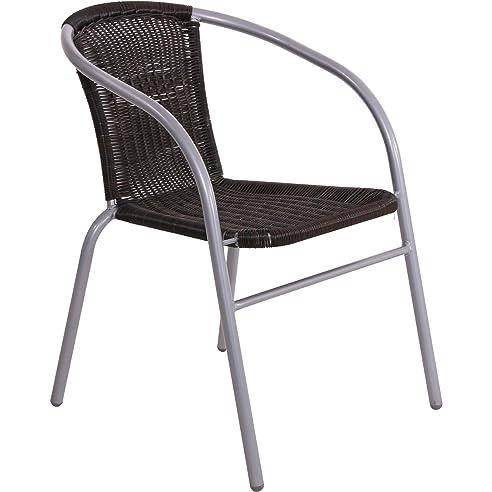 Gartenstuhl metall  Gartenstuhl Stuhl Metall mit schwarzem Geflecht, stapelbar: Amazon ...