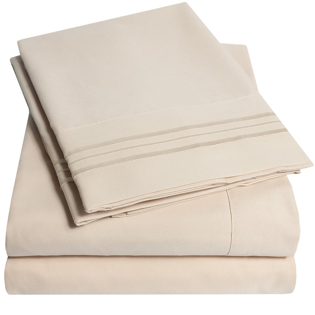 1500 Supreme Collection Extra Soft Queen Sheets Set, Beige - Luxury Bed Sheets Set With Deep Pocket Wrinkle Free Hypoallergenic Bedding, Over 40 Colors, Queen Size, Beige by Sweet Home Collection (Image #8)