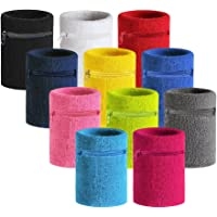 Hoter Sports Thick Solid Color Wristband with Zipper/Wrist Wallet, 1PC/2PCS Pack