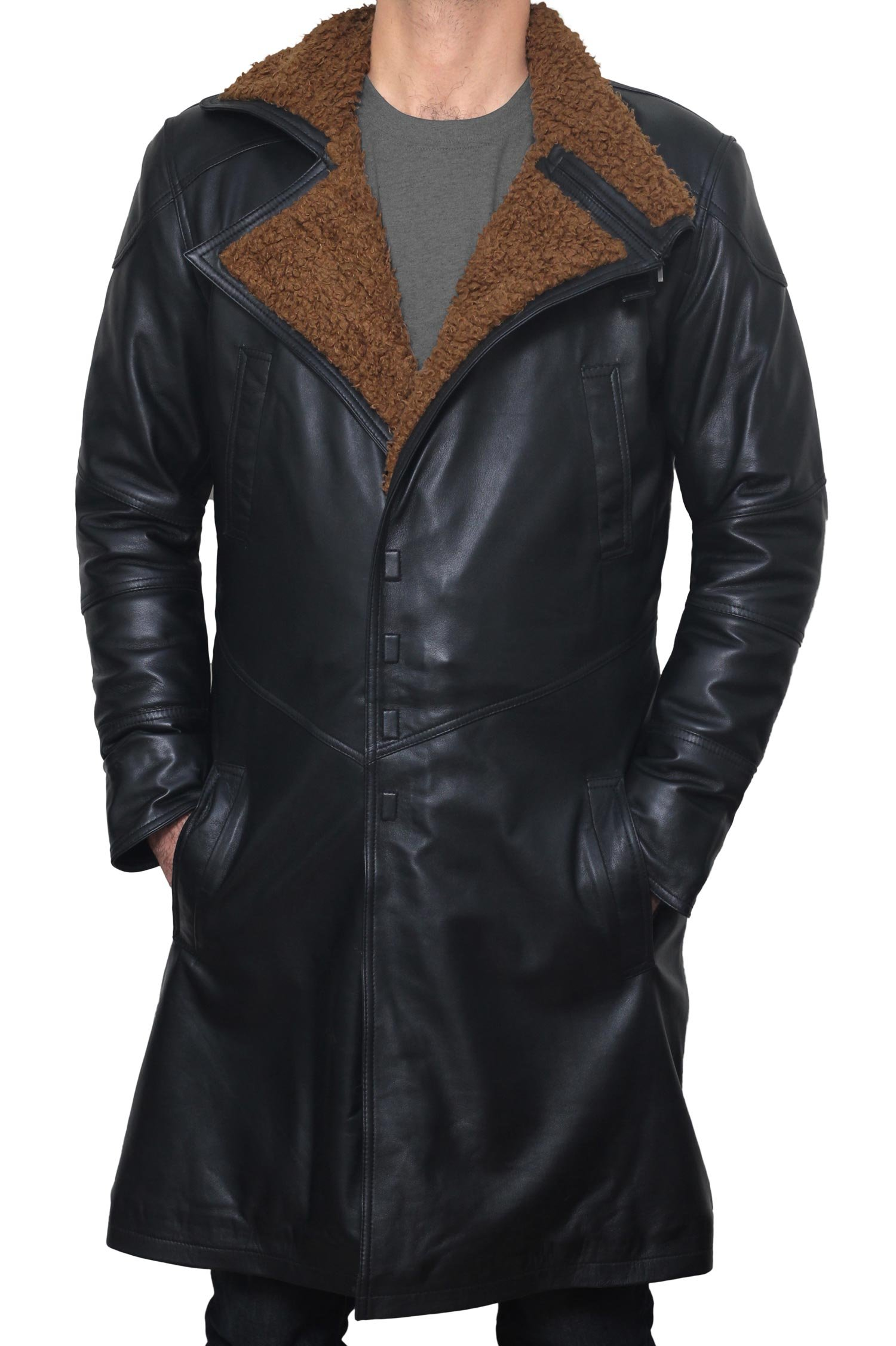 BlingSoul Blade Fur Coat Men Costume - Boys Black Leather Coat (XL) [PU-BLRN-BL-XL] by BlingSoul (Image #3)