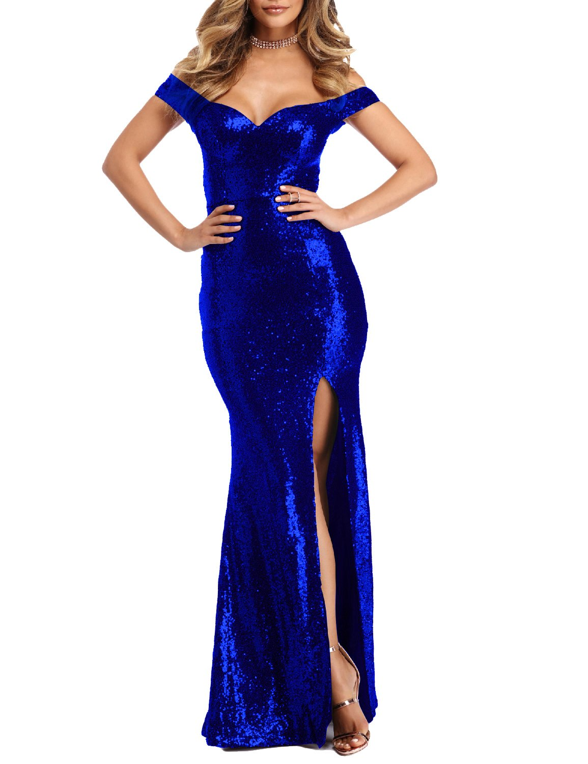 YSMei Womens Off Shoulder Sequins Evening Dress Split Mermaid Prom Gown YPM464