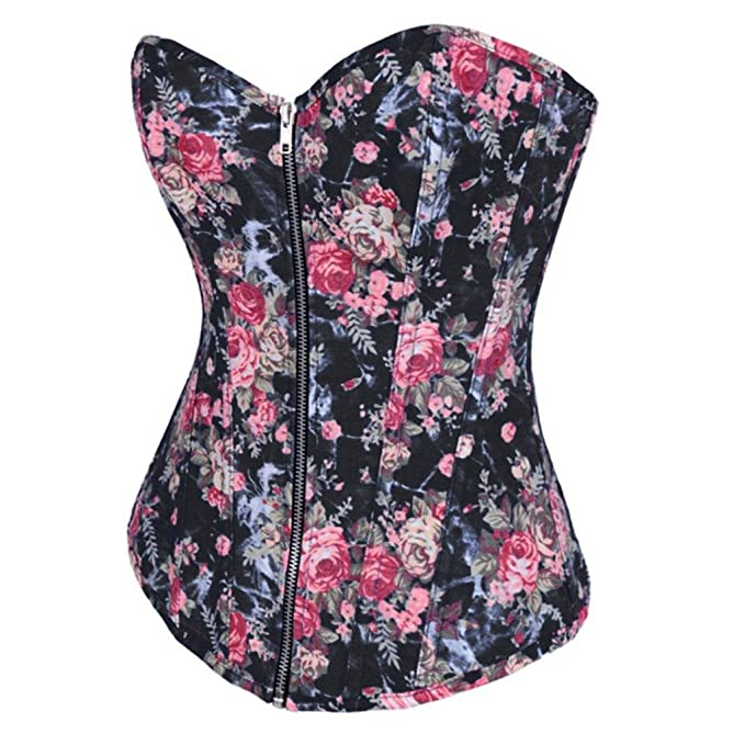 080cb843a3 LFFW Flowers Parttern Zipper Front Corset Bustier Denim Casual Basque  (US(4-6