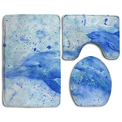 Oswald Carnegie Sea Animals Art Blue Dolphin Bathroom Rug Mats Set 3 Piece,  Rugs Graphic