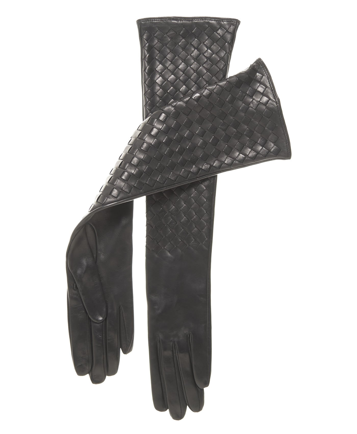 Fratelli Orsini Italian Long Woven Black Leather Gloves - 10-Button Length Size 7 Color Black by Fratelli Orsini