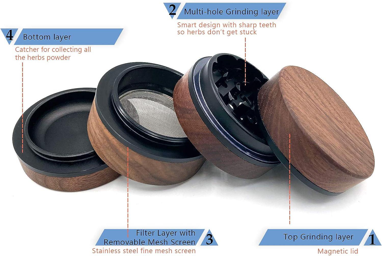 Wooden Herb Grinder 2.5 inch 4 Pieces Spice Grinder Magnetic Top Herb Spice Grinders with Magnetic Lid