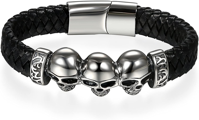 JewelryWe Punk Rock Pulsera de Cuero para Hombre, Craneos Pulsera Negra de Acero Inoxidable, Brazalete Trenzado Cierre Magnetico 18cm: Amazon.es: Joyería