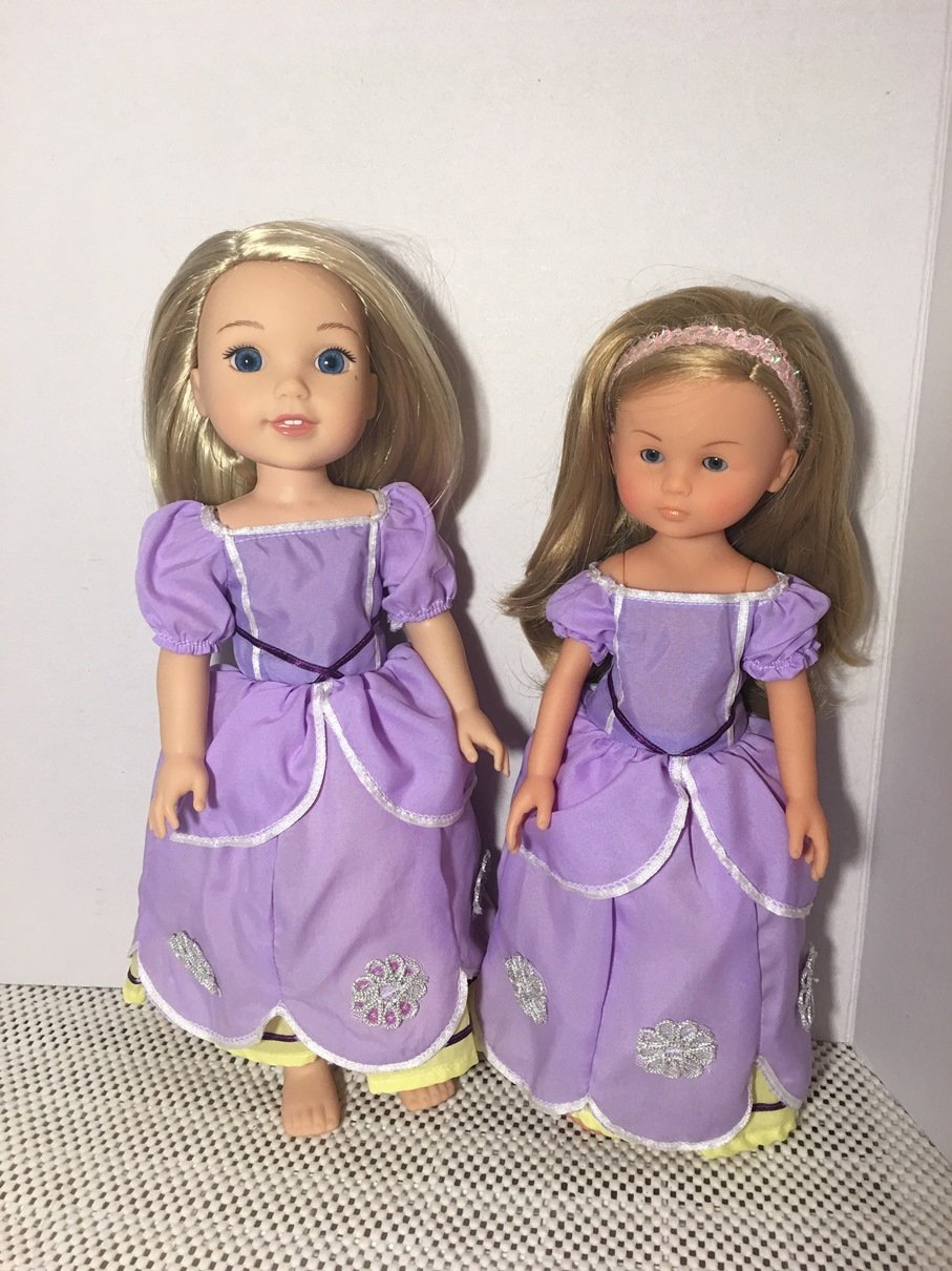 Fits 14.5 inch Wellie Wishers Doll Clothes Dress Sofia Purple Replica, Fits Hearts for Hearts DOll, Fits Corolle Les Cheries Doll CLOTHES ONLY