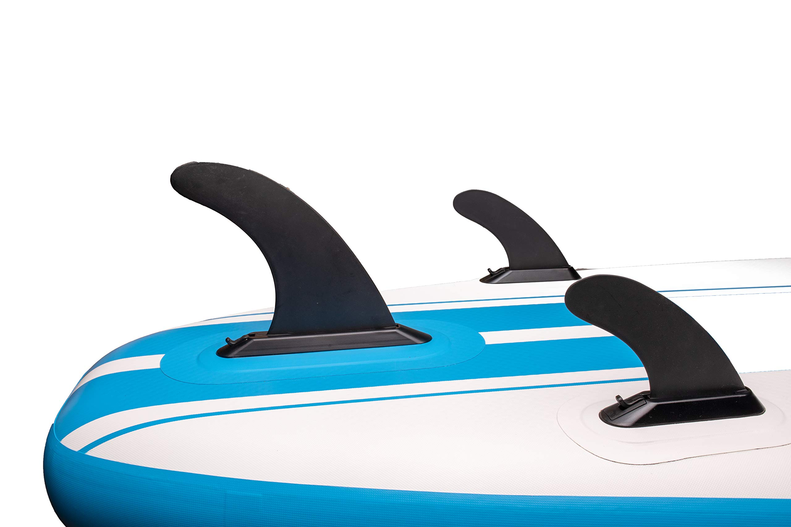 iROCKER All-Around Inflatable Stand Up Paddle Board 11' Long 32'' Wide 6'' Thick SUP Package (White/Blue Stripe 2019) by iROCKER (Image #5)