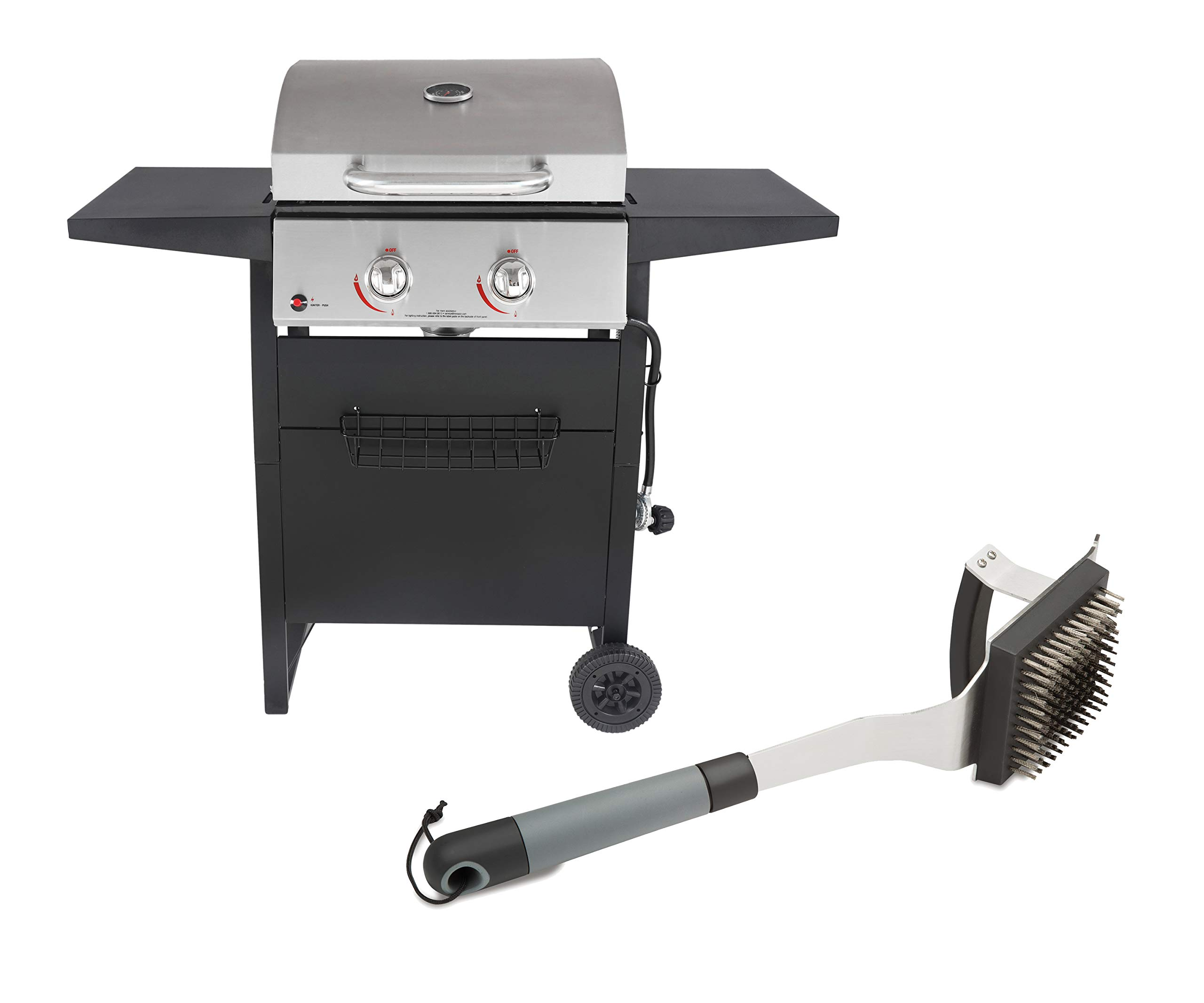 RevoAce 2-Burner Gas Grill with Stainless Steel Bundle with Cuisinart Dual Grip Barbecue Grill Brush and Scraper by RevoAce + Cuisinart