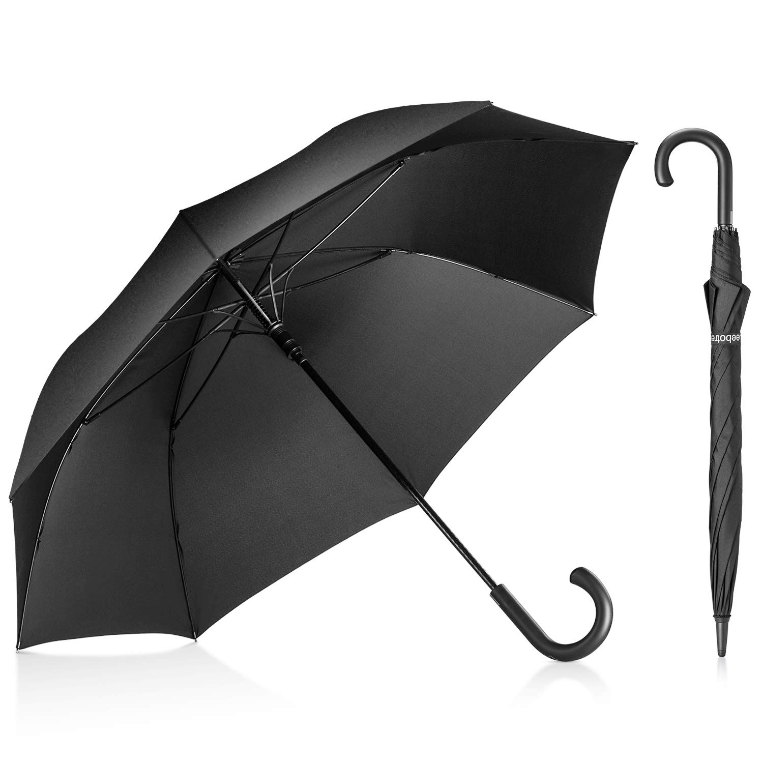 Leebotree Stick Umbrella, Auto Open Windproof Umbrella with 51 Inch Large Canopy Waterproof and J Handle for Men Women (Black) by Leebotree