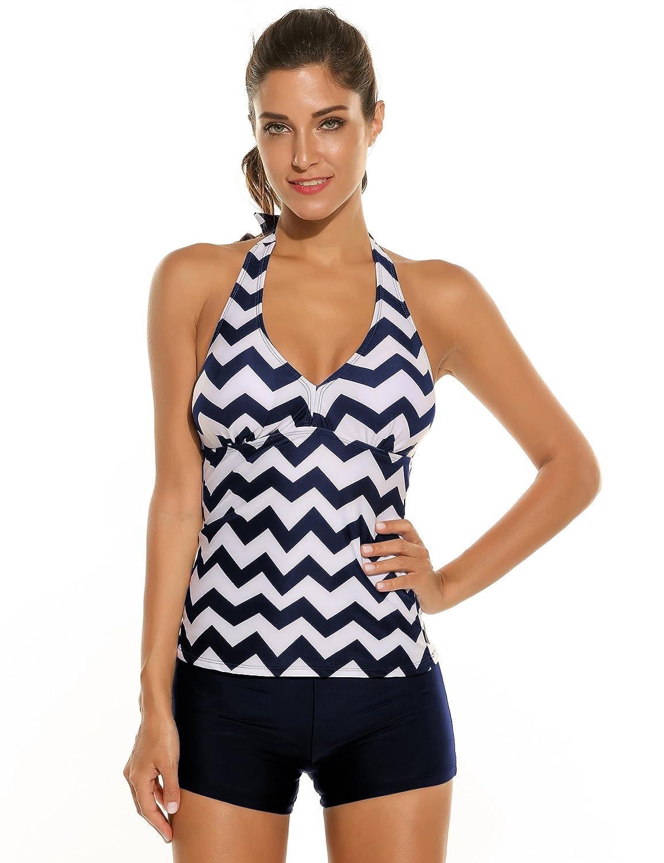Ekouaer Women Halter Padded Striped Tankini Solid Boyshort Set Swimsuit Swimwear ***AMK005659