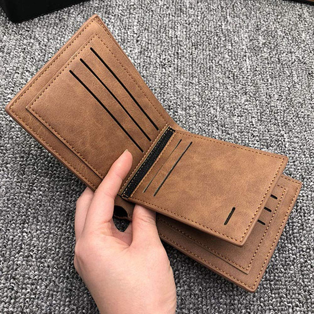 Vintage soft leather mens Trifold wallet brown