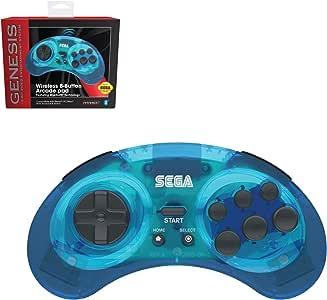 Retro-Bit Official Sega Genesis Bluetooth Controller 8-Button Arcade Pad for Android, PC, Mac, Steam - Clear Blue